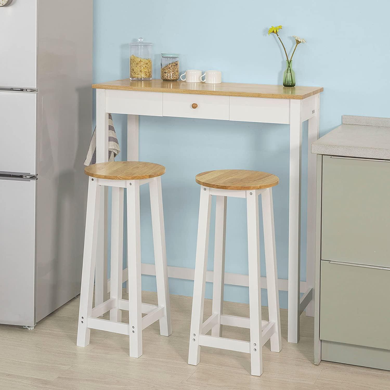 Full Size of Küchen Bartisch Sobuy Fwt50 Wn Set 3 Teilig Stehtisch Mit Haken Und Regal Küche Wohnzimmer Küchen Bartisch