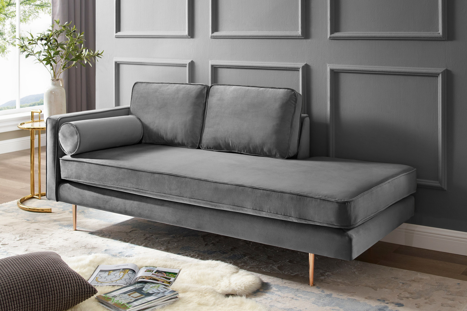 Full Size of Recamiere Samt Grau Lehne Links Online Bei Roller Kaufen Sofa Mit Wohnzimmer Recamiere Samt