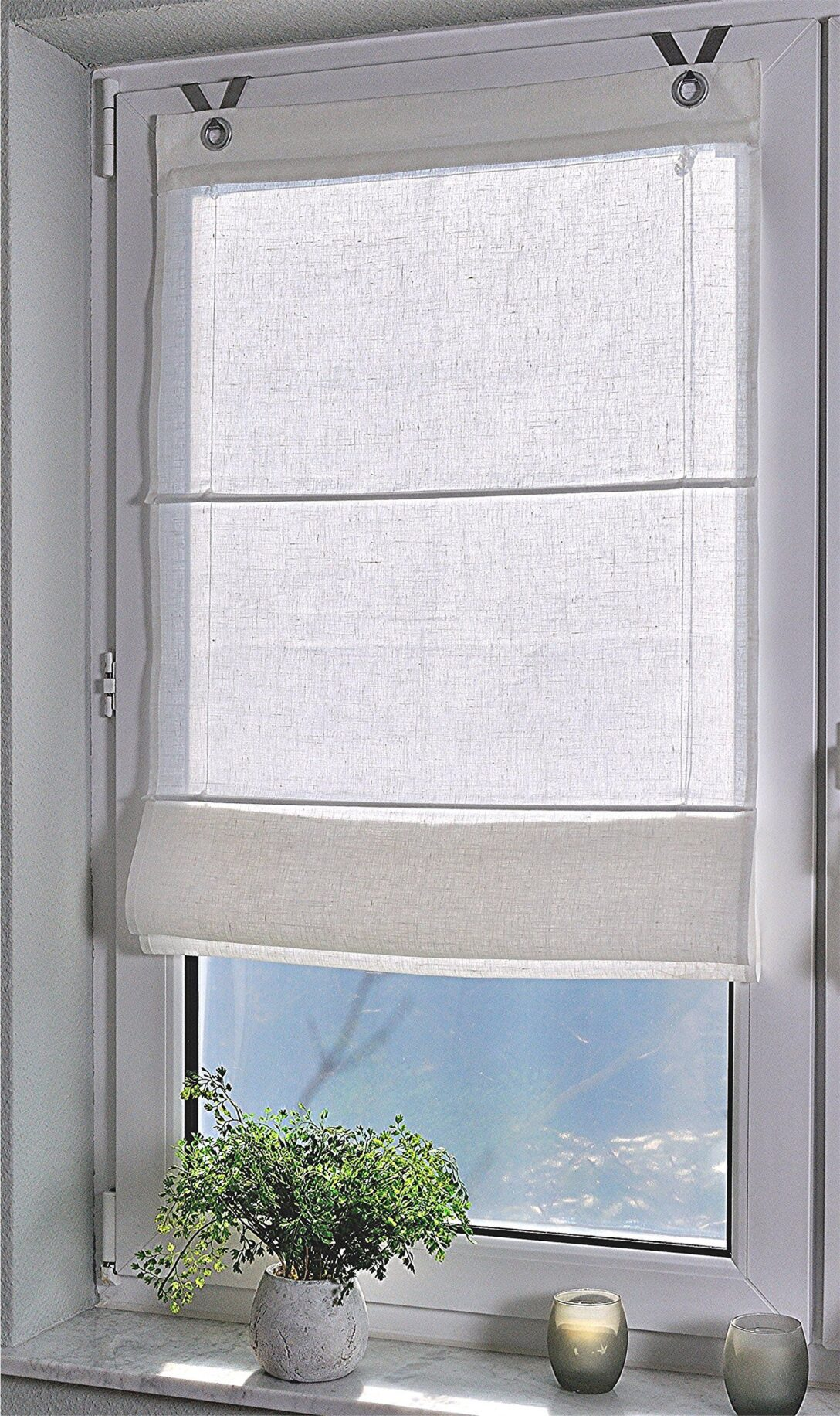Large Size of Raffrollo Senrollo Metis Weiss 100 Leinen 45 140 Amazonde Küche Wohnzimmer Raffrollo Küchenfenster