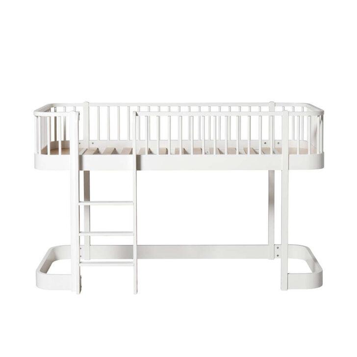 Medium Size of Halbhohes Hochbett Wood Leiter Vorne Wei Designde Bett Wohnzimmer Halbhohes Hochbett