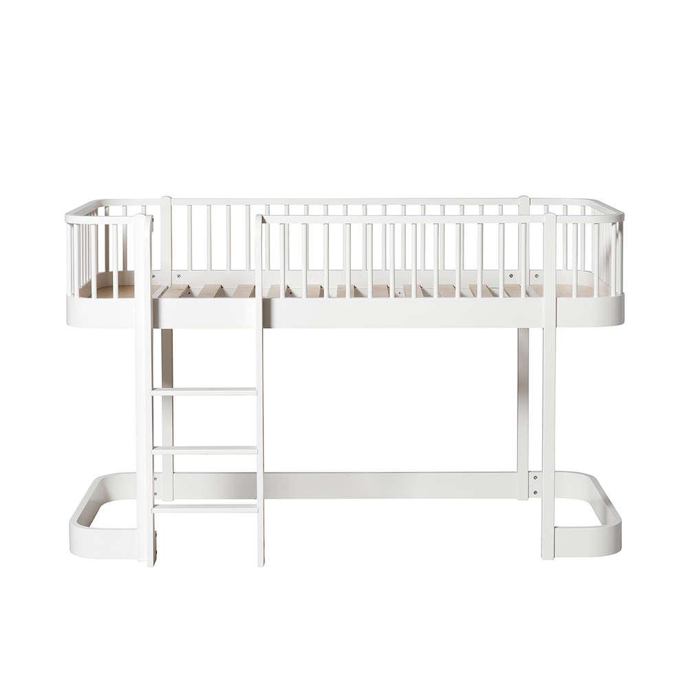 Full Size of Halbhohes Hochbett Wood Leiter Vorne Wei Designde Bett Wohnzimmer Halbhohes Hochbett