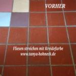 Fußbodenfliesen Küche Fliesen Streichen Autentico Chalk Paint Kreidefarbe Und Miniküche Hängeschränke Winkel Wasserhahn Magnettafel Laminat In Der Ikea Wohnzimmer Fußbodenfliesen Küche