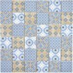 Fußbodenfliesen Küche Keramik Mosaikfliesen Daymion Retrooptik Blau Braun Wandpaneel Glas Laminat Arbeitstisch Salamander Jalousieschrank Hängeschrank Wohnzimmer Fußbodenfliesen Küche