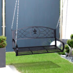Outsunny Hngebank 2 Sitzer Gartenschaukel Schaukelbank Metall Regal Bett Weiß Regale Wohnzimmer Gartenschaukel Metall