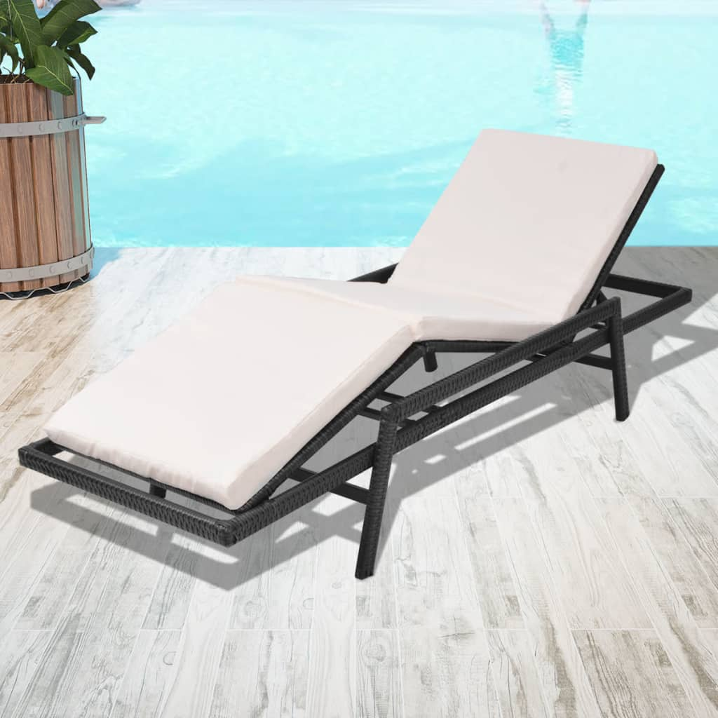 Full Size of Vidaxl Sonnenliege Verstellbar Poly Rattan Schwarz Gartenliege Relaxliege Garten Wohnzimmer Sofa Mit Verstellbarer Sitztiefe Wohnzimmer Relaxliege Verstellbar