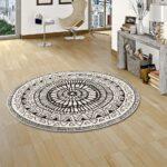 Teppich Schwarz Weiß Designer Sevilla Mandala Weiss Rund Teppiche Bett 140x200 180x200 Weißes Schlafzimmer Schweißausbrüche Wechseljahre 200x200 Esstisch Wohnzimmer Teppich Schwarz Weiß