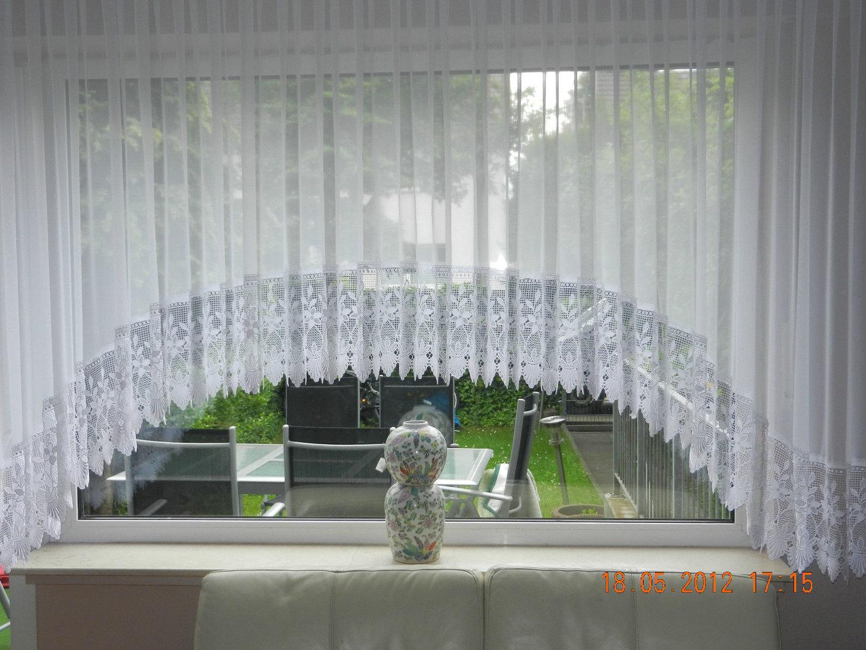 Full Size of Wunderschne Blumenfenster C Bogenstore 25cm Spitze Voile Gardine Gardinen Für Wohnzimmer Scheibengardinen Küche Die Fenster Schlafzimmer Bogenlampe Esstisch Wohnzimmer Bogen Gardinen
