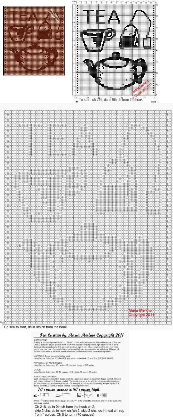 Medium Size of Küchegardinen Häkeln Anleitung Filet Crochet A Tea Pot Curtain Free Pattern Wohnzimmer Küchegardinen Häkeln Anleitung