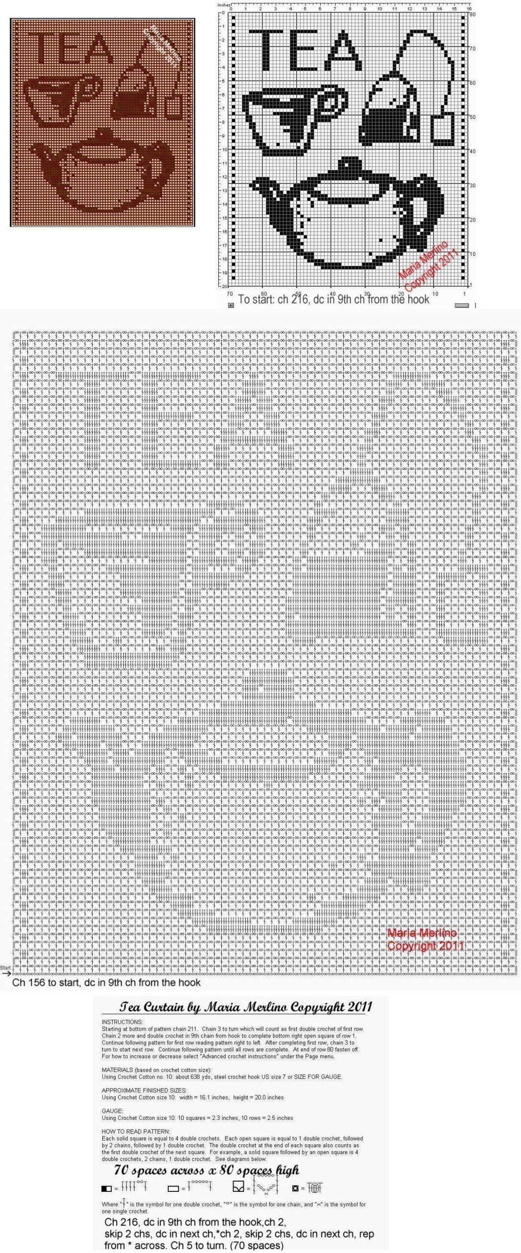 Full Size of Küchegardinen Häkeln Anleitung Filet Crochet A Tea Pot Curtain Free Pattern Wohnzimmer Küchegardinen Häkeln Anleitung
