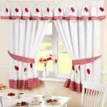 46 Rot Vorhang 10 54 136 Mohn Gestickt Kche Wohnzimmer Küchenvorhang