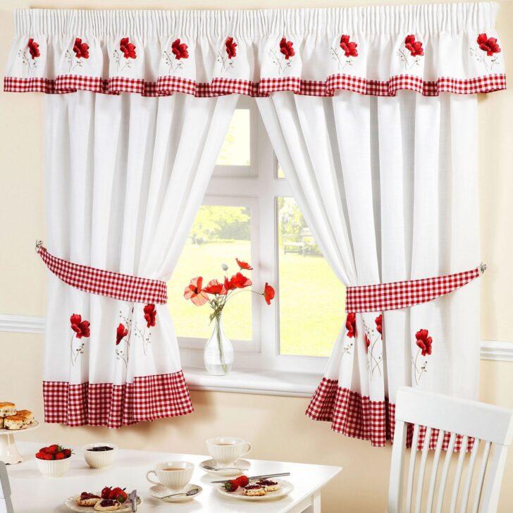Medium Size of 46 Rot Vorhang 10 54 136 Mohn Gestickt Kche Wohnzimmer Küchenvorhang