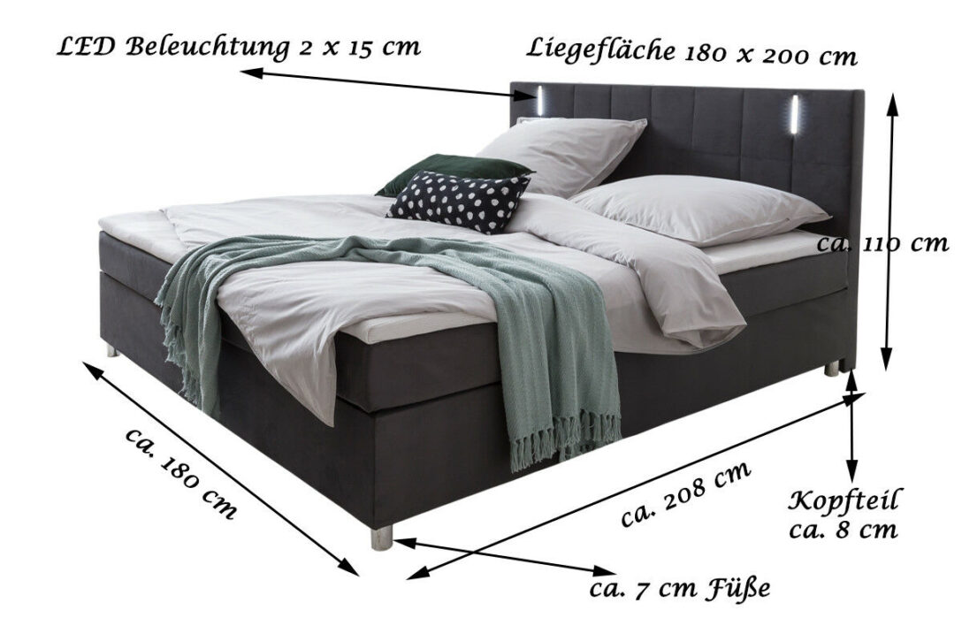 Large Size of Boxspringbett Samt 180 200 Cm Bezug Grau Anthrazit Led Schlafzimmer Set Mit Sofa Wohnzimmer Boxspringbett Samt