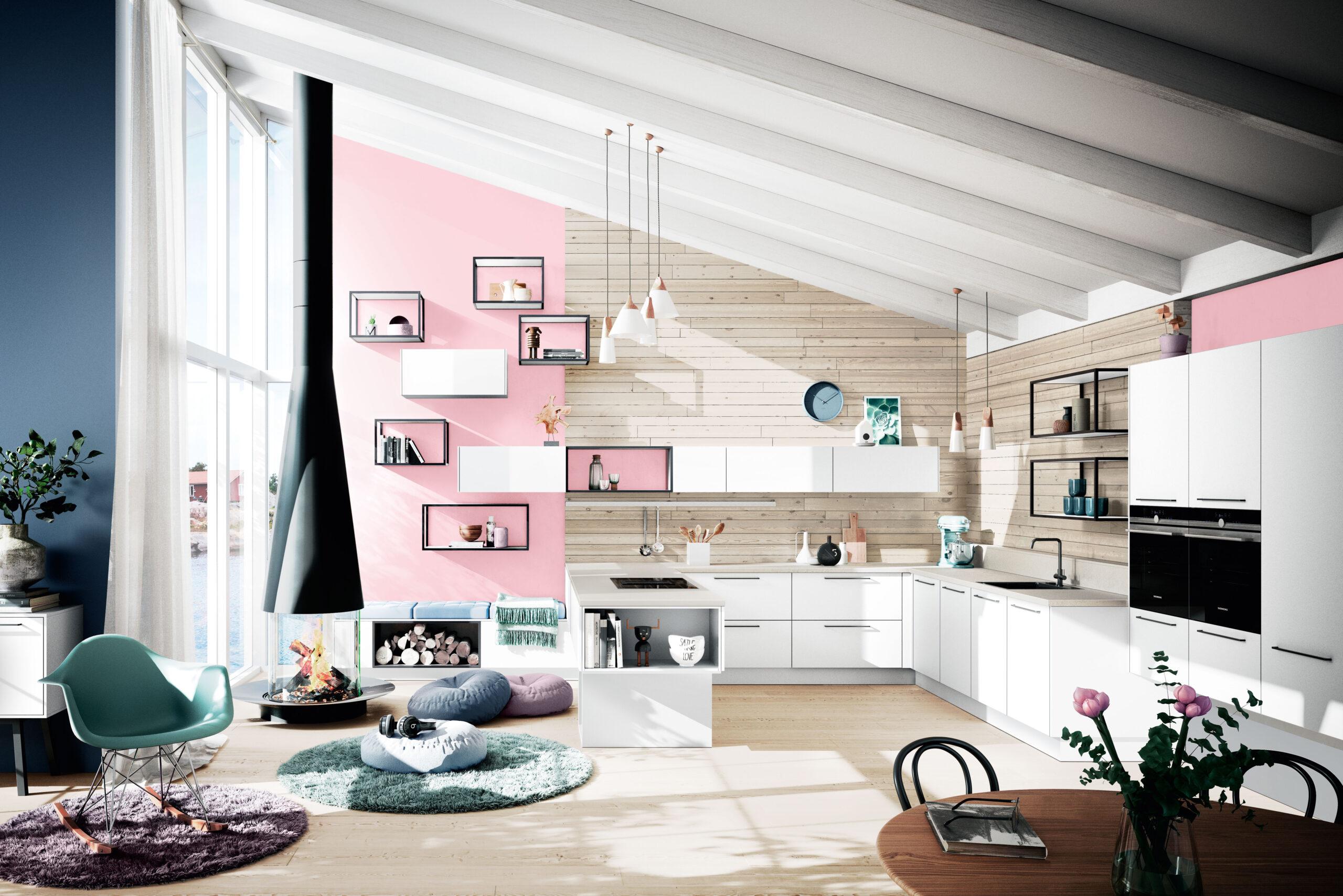 Full Size of Wandfarbe Rosa Pastelltne In Der Kche So Integrieren Sie Eiscremefarben Zu Hause Küche Wohnzimmer Wandfarbe Rosa