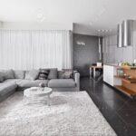 Küche Teppich Innenansicht Wohnzimmer Mit Sofa Und Aufbewahrungsbehälter Grau Hochglanz Kaufen Günstig Wanduhr Musterküche Inselküche Abverkauf Anthrazit Wohnzimmer Küche Teppich