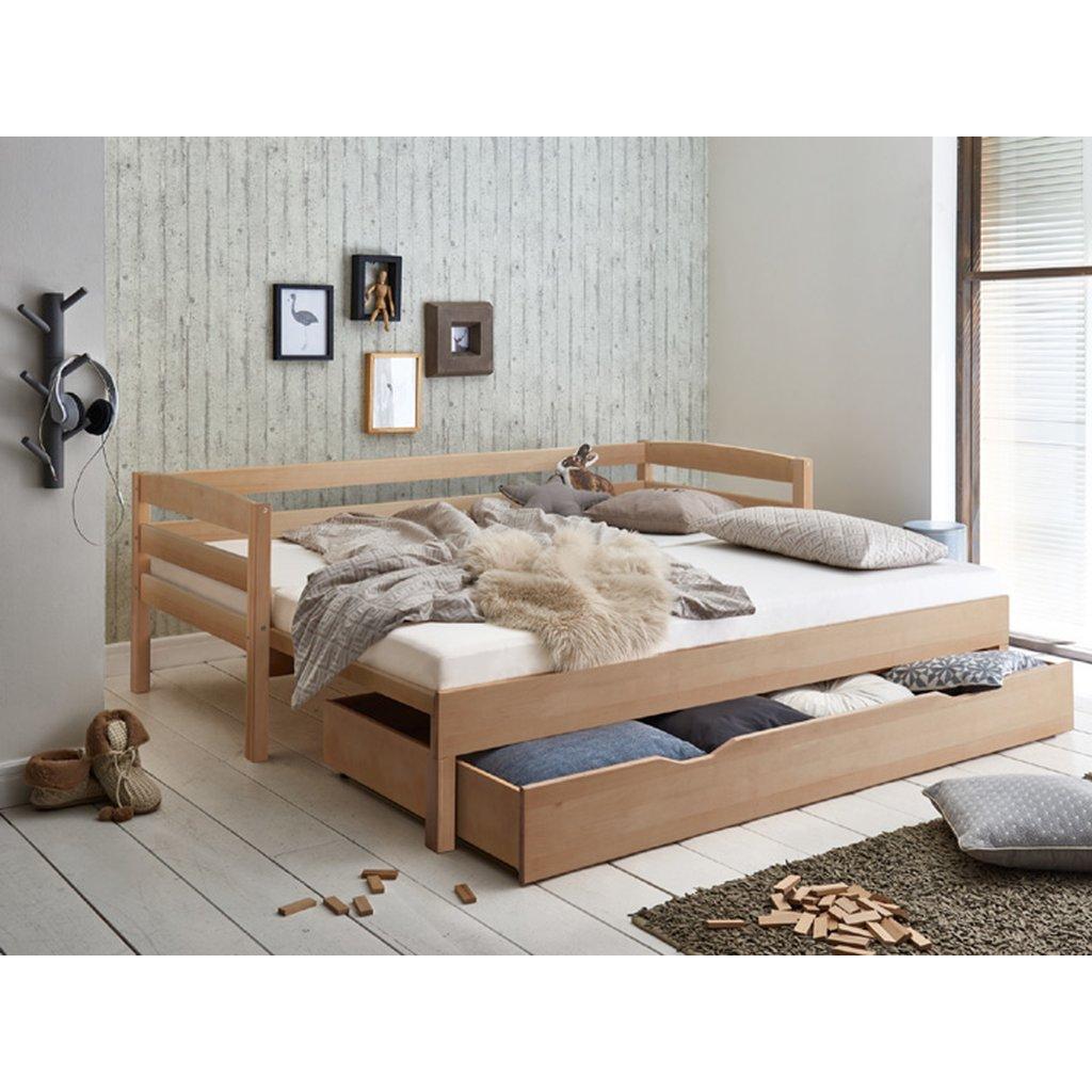 Full Size of Ausziehbares Doppelbett Ikea Ausziehbare Doppelbettcouch Bett Emilia Ausziehbar 90 180 200cm Funktionsbett Buche Massiv Wohnzimmer Ausziehbares Doppelbett
