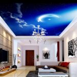 Wohnzimmer Decke Wohnzimmer Wohnzimmer Himmel Wolken Mond Fr Poster Teppiche Relaxliege Hängeleuchte Liege Led Heizkörper Sofa Kleines Bett Tapete Tischlampe