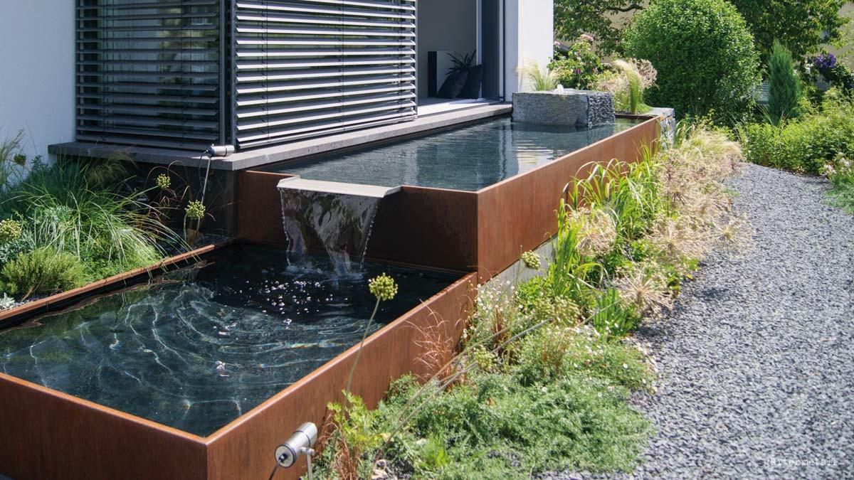Full Size of Holzlege Cortenstahl Aqua Linea Brunnensysteme Aus Metall Fr Ihren Garten Wohnzimmer Holzlege Cortenstahl
