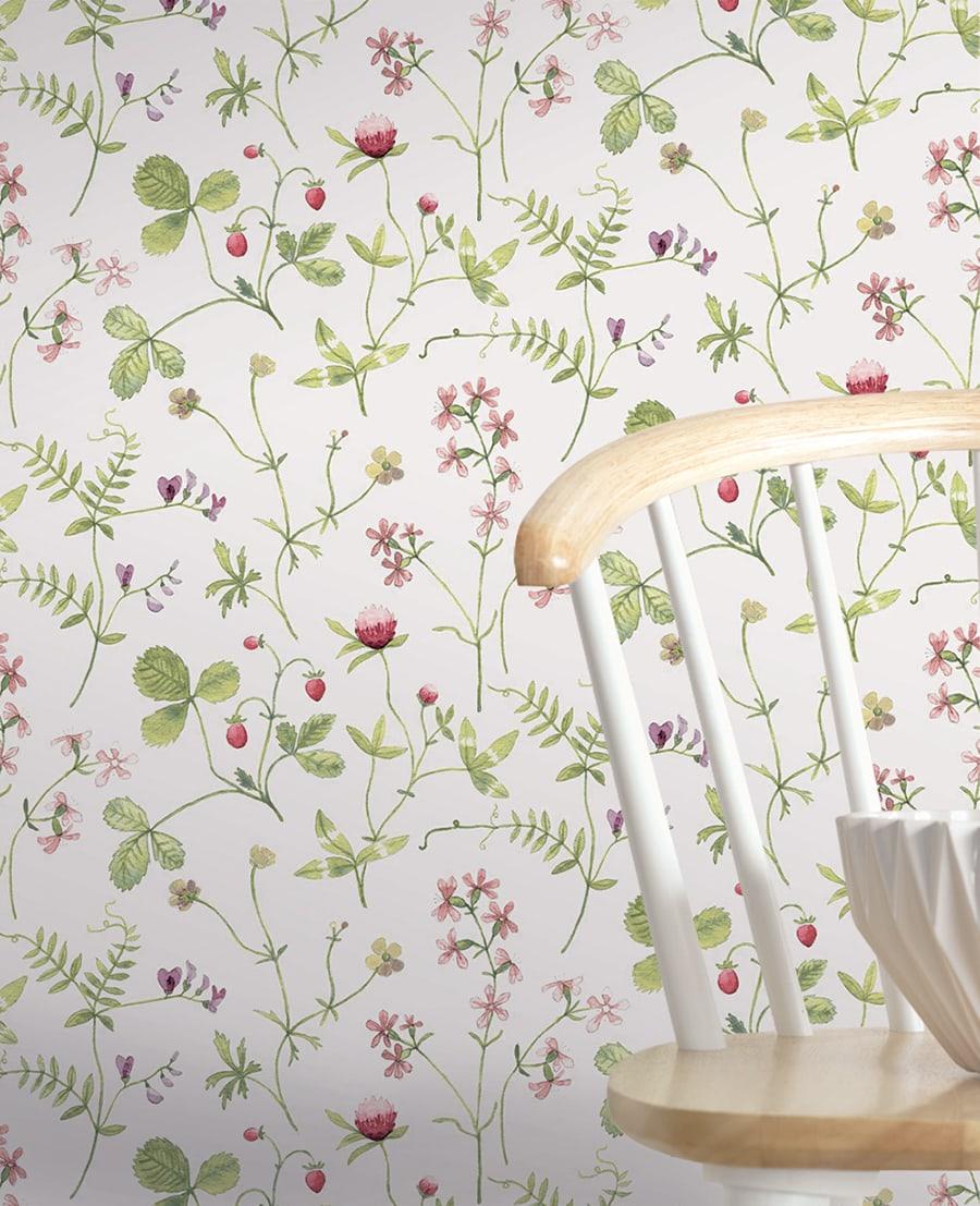 Full Size of Tapete Calcada Im Natrlich Skandinavischen Stil Mit Wildblumen Landhausstil Sofa Bad Küche Schlafzimmer Bett Wohnzimmer Boxspring Weiß Esstisch Betten Regal Wohnzimmer Küchentapete Landhausstil