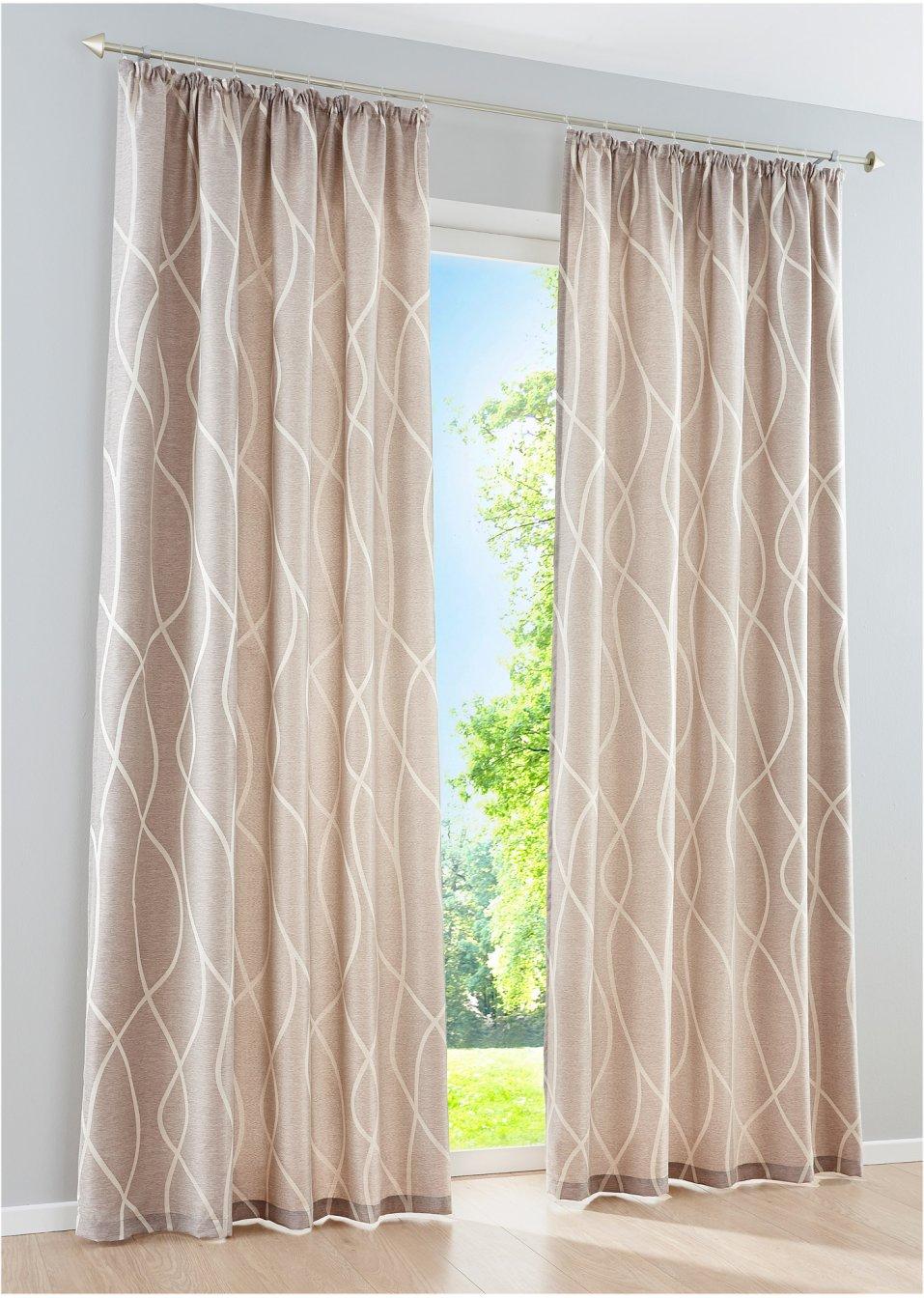 Full Size of Blickdichter Vorhang Mit Moderner Jacquard Musterung Sand Vorhänge Küche Schlafzimmer Wohnzimmer Wohnzimmer Vorhänge