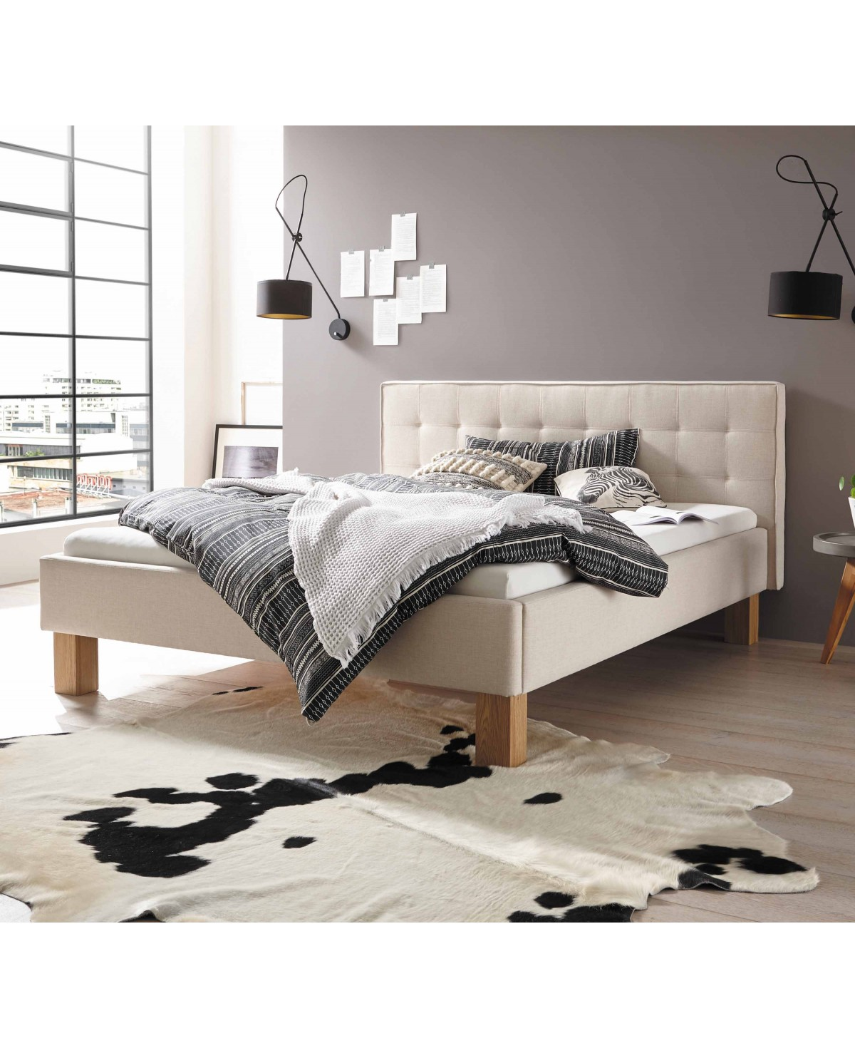 Full Size of Polsterbett 200x220 Hasena Dream Line Noemi 20 Eiche Bianco Stoff Beige Betten Bett Wohnzimmer Polsterbett 200x220