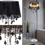 Textil Standleuchte Mit Glaskristallen Lani Stehlampe Schlafzimmer Wohnzimmer Stehlampen Wohnzimmer Kristall Stehlampe