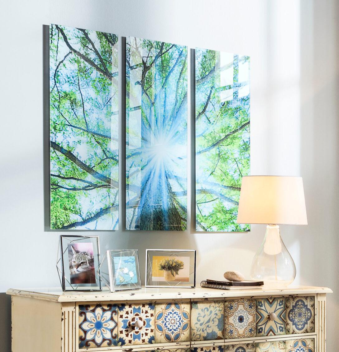 Large Size of Glasbild 120x50 Triptychon Baum Glasbilder Küche Bad Wohnzimmer Glasbild 120x50