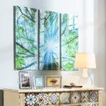 Glasbild 120x50 Triptychon Baum Glasbilder Küche Bad Wohnzimmer Glasbild 120x50