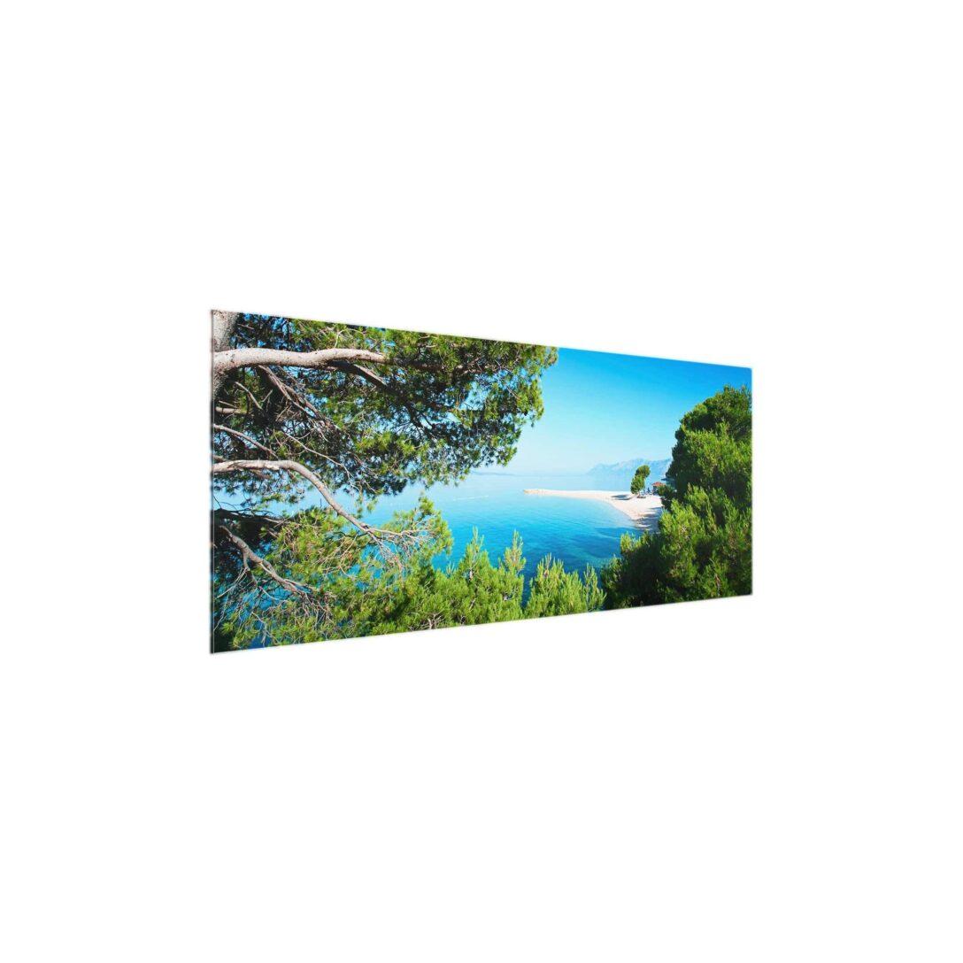 Large Size of Glasbild 120x50 Hidden Paradise Panorama Quer Glasbilder Küche Bad Wohnzimmer Glasbild 120x50