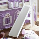Halbhohes Mdchenbett Aranon Mit Rutsche Und Vorhang In Lila Wohnzimmer Mädchenbetten