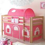 Mädchenbetten Wohnzimmer Halbhohes Spielbett Mit Stoff Pink Aus Buche Natur Vorenza