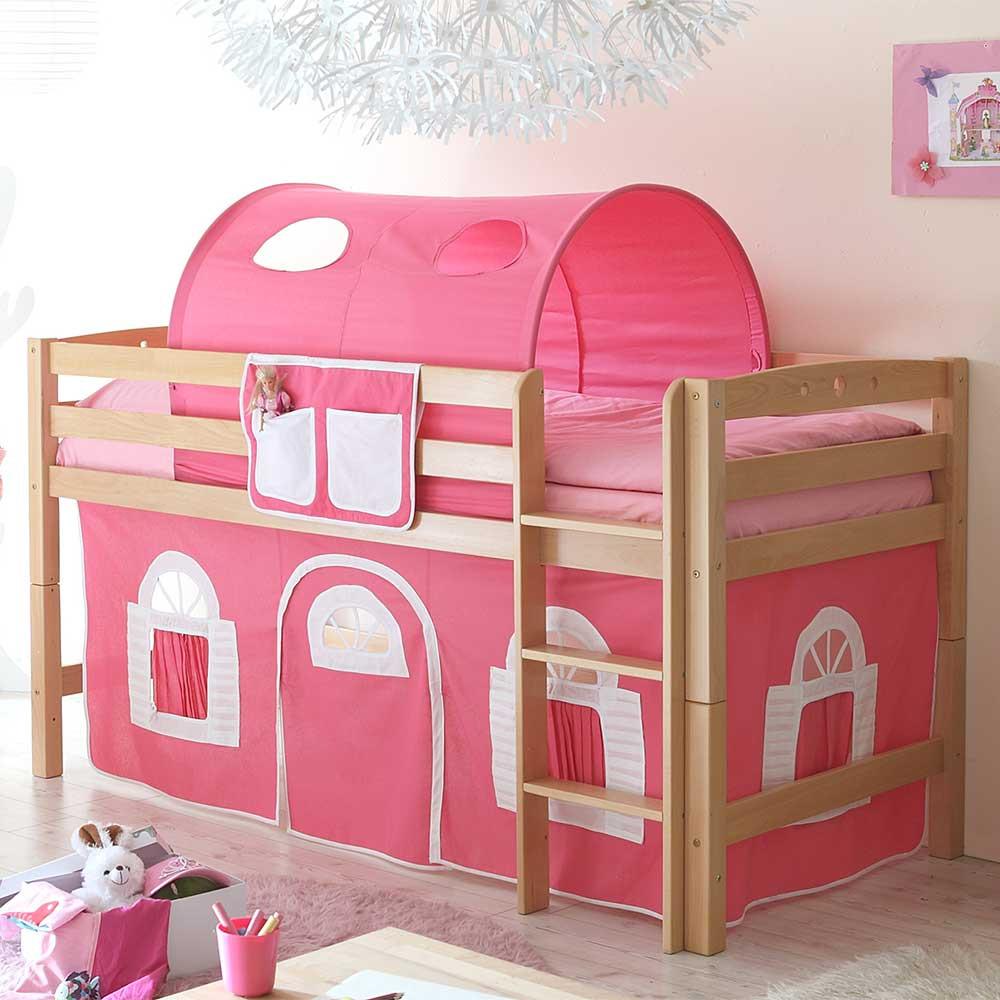 Full Size of Halbhohes Spielbett Mit Stoff Pink Aus Buche Natur Vorenza Wohnzimmer Mädchenbetten