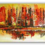 Abstraktes Keilrahmenbild Rot Gelb Orange Wandbild Wohnzimmer Board Wandbilder Schlafzimmer Kamin Decke Indirekte Beleuchtung Tisch Liege Rollo Teppich Lampe Wohnzimmer Wohnzimmer Wandbild