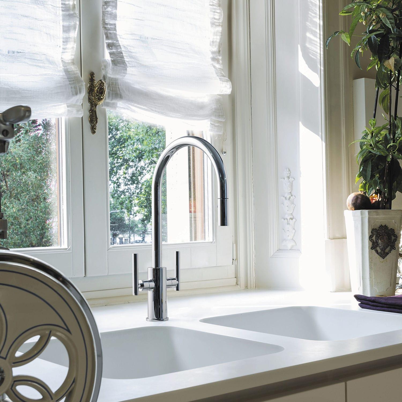 Full Size of Freistehende Küchen Mischbatterie Kitchen Mixer Graff Verchromtes Regal Küche Wohnzimmer Freistehende Küchen