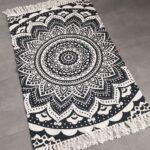 Teppich Schwarz Weiß Lufer Mandala Muster Boho Boheme Baumwolle Wei Regal Metall Bad Hochschrank Hängeschrank Schweißausbrüche Wechseljahre Küche Holz Wohnzimmer Teppich Schwarz Weiß
