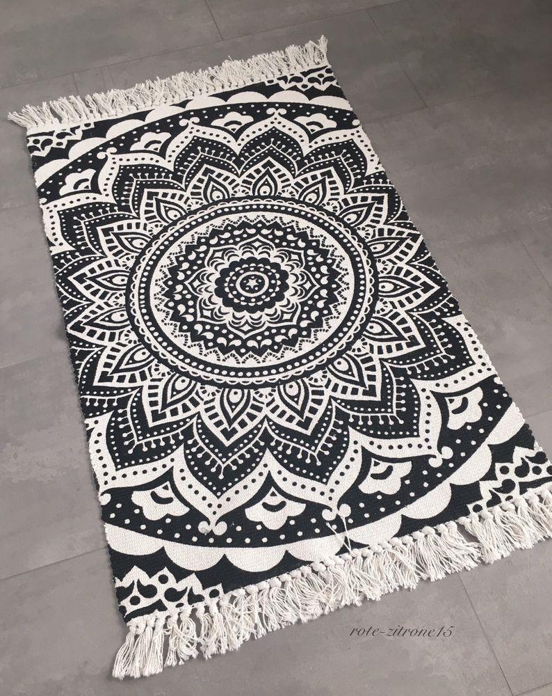 Full Size of Teppich Schwarz Weiß Lufer Mandala Muster Boho Boheme Baumwolle Wei Regal Metall Bad Hochschrank Hängeschrank Schweißausbrüche Wechseljahre Küche Holz Wohnzimmer Teppich Schwarz Weiß