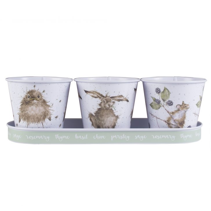 Medium Size of Kräutertöpfe 3er Set Blumentpfe Mit Tiermotiven Auf Tablett Krutertpfe Von Wohnzimmer Kräutertöpfe