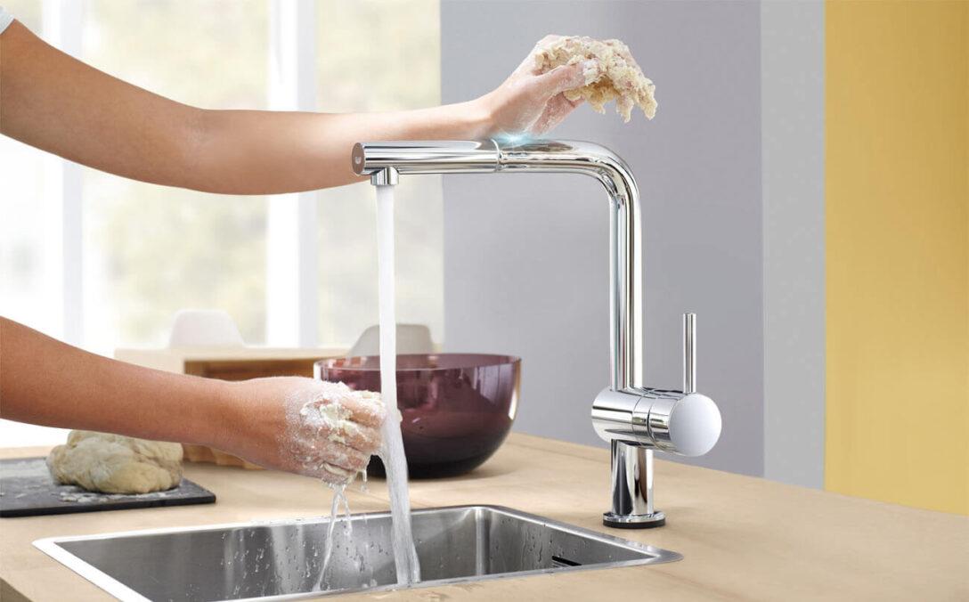 Large Size of Berhrungslose Kchenarmatur Wasserhahn Von Grohe Minta Touch Thermostat Dusche Küche Wandanschluss Für Bad Wohnzimmer Grohe Wasserhahn