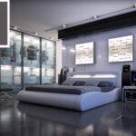 Polsterbett Doppelbett 200 220 Cm Led Grau Sprint Ii Betten 200x220 Bett Wohnzimmer Polsterbett 200x220