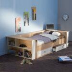 Bett Mit Regal 90x200 Weiß Betten Lattenrost Und Matratze Kiefer Weißes Schubladen Bettkasten Wohnzimmer Jugendbett 90x200