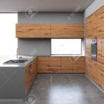 Küche Grauer Boden Wohnzimmer Küche Grauer Und Dunkler Hlzerner Kcheninnenraum Mit Einem Konkreten Laminat Für Bauen Fliesenspiegel Glas Kleine Einrichten Grau Hochglanz Wasserhahn
