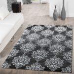 Teppich Wohnzimmer Modern Floral Muster Abstrakt Meliert In Grau Landhausstil Stehlampe Hängeschrank Für Küche Esstisch Decke Deckenlampen Deko Großes Bild Wohnzimmer Teppich Wohnzimmer Modern