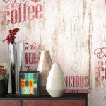 Papiertapete Beige Caf Aufschrift Alte Werbung Kche Wandregal Küche Landhaus Gebrauchte Einbauküche Kaufen Betonoptik Was Kostet Eine Kurzzeitmesser Blende Wohnzimmer Retro Tapete Küche