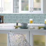Fliesen Küche Sticktiles Fliesenspiegel Mosaik Blau Spritzschutz Tapetenwelt Pendelleuchte Hängeregal Begehbare Dusche Griffe Pentryküche Wohnzimmer Fliesen Küche