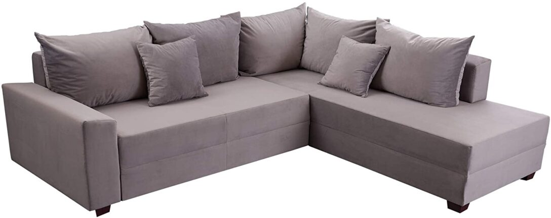 Invicta Interior Design Ecksofa Apartment 245cm Grau Samt Bett 120x200 Mit Bettkasten Sofa Relaxfunktion Elektrisch Rolf Benz Türkische 3er Hay Mags Regal