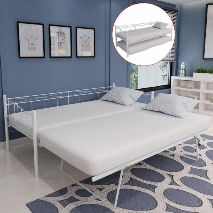 Medium Size of Ausziehbares Doppelbett Ikea Ausziehbare Doppelbettcouch Vidaxl Bettgestell Wei Stahl 180200 90200 Cm Real Bett Wohnzimmer Ausziehbares Doppelbett