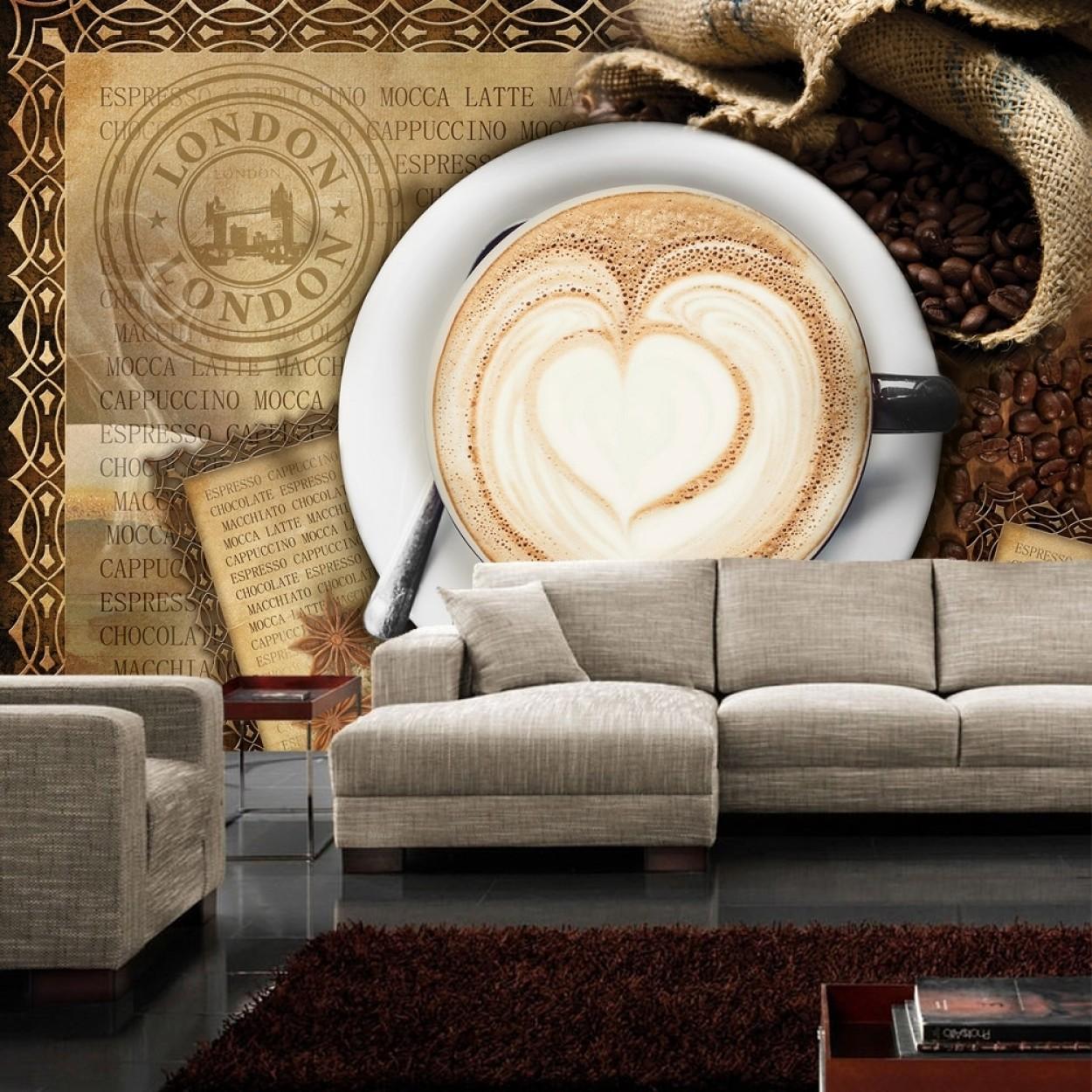 Full Size of Fototapete No 2150 Vliestapete Kaffee Tapete Cappuccino Pentryküche Fliesen Für Küche Ebay Auf Raten Einhebelmischer Hängeschrank Höhe Erweitern Hochglanz Wohnzimmer Tapete Küche Kaffee