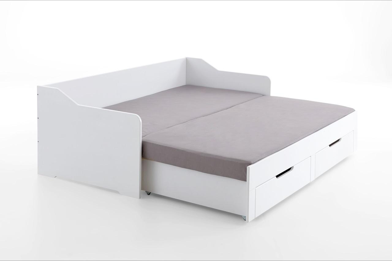 Full Size of Ausziehbares Doppelbett Ausziehbare Doppelbettcouch Ikea Kojenbett Wei Mit Schubksten 90x200 Auf 180x200 Cm Bett Wohnzimmer Ausziehbares Doppelbett
