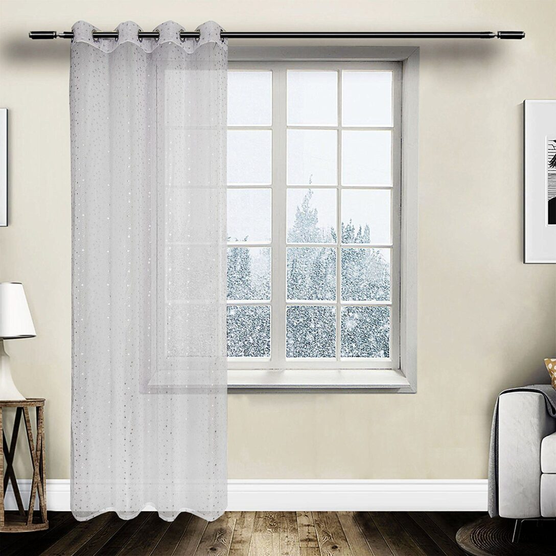 Large Size of Gardine Vorhang Transparent Sen Mit Muster Weiss Wei 140x245 Cm Scheibengardinen Küche Wohnzimmer Scheibengardinen Blickdicht