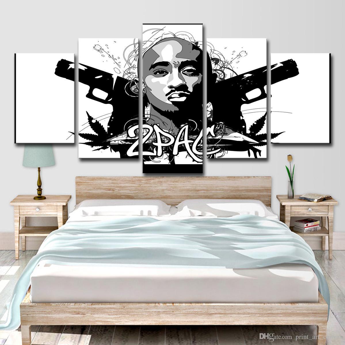 Full Size of Hd Gedruckt 5 Stck Leinwand Kunst Rap 2pac Hip Hop Lampe Wohnzimmer Fürs Vitrine Weiß Vorhänge Tischlampe Hängelampe Teppich Vorhang Liege Sessel Led Wohnzimmer Wohnzimmer Wandbilder