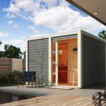 Außensauna Wandaufbau Wohnzimmer Saunahaus Cuben Mit Vorraum Karibu